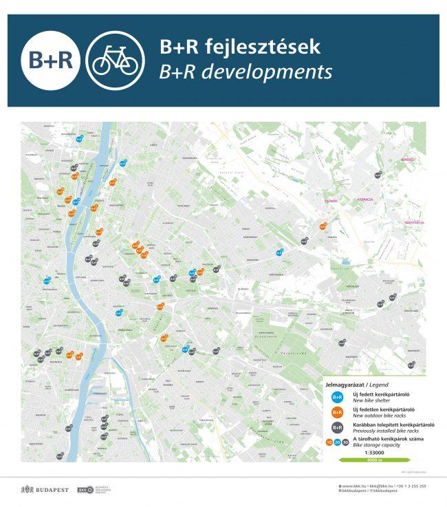 Új B+R kerékpártárolók 27 budapesti helyszínen